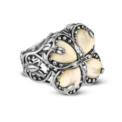 Sterling Silver Gold Mother-of-Pearl Filigree Ring