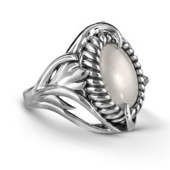 Sterling Silver Mabe Shell Leaf Ring