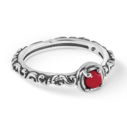 Sterling Silver Red Coral Band Ring