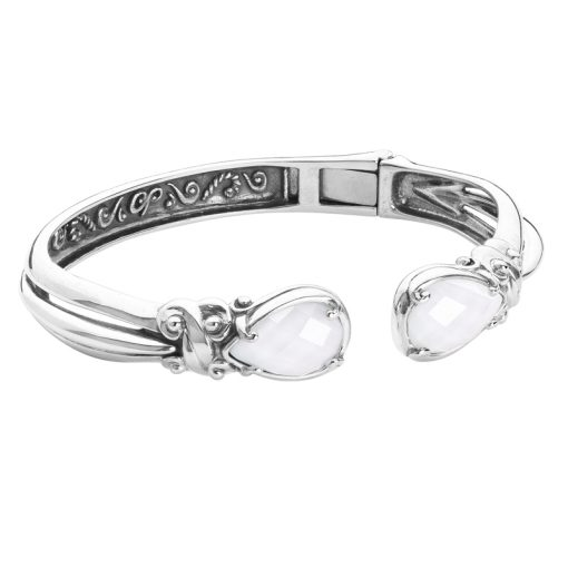 Sterling Silver White Agate Doublet Cuff Bracelet